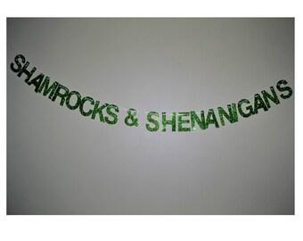 st. patricks day banner - shamrocks & shenanigans