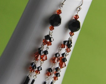 REDUCED long black earrings, gift under 30, gift for her, orange earring, blood orange earrings, orange jewelry, black jewellery. NATALIE