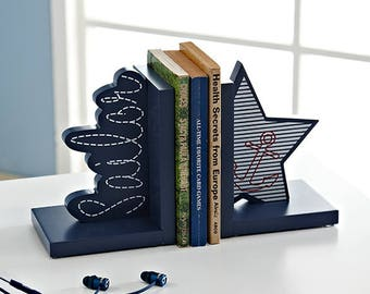 Sailor Nautical Wooden Nursery Bookends / Book stands / Book holders -  Birthday / Baby Shower Gift