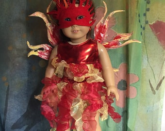 American Girl Custom OOAK Flaming Fire Fairy Costume