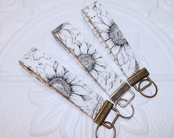 Sunflower Key Fob - Wristlet Key Fob - Key Fob Wristlet Keychain - Wrist Lanyard Keychain - Wristlet Key Lanyard Strap - Gift For Her