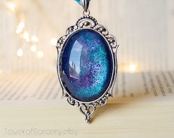 GALAXY Amulet Fantasy Choker - Starts Purple blue and teal. Hand painted