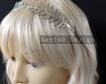 Silver Goddess Laurel circlet (Ceres Design, 2 color option) Vine Leaf circlet headband elven crown for Wedding,larp,vintage 1940s bride