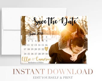 Printable Wedding Save the Date Calendar // Use your photos // Save the Date Calendar // Digital Wedding Stationery // Templett