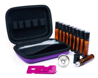 Essential Oil Carrying Case, 10 rollers, funnel, key droppers