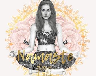 Namaste - Mandala yoga girl - fashion illustration portrait