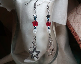 Patriotic red white blue and silver earrings