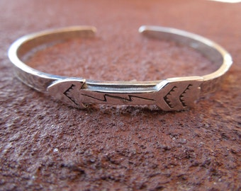 Sterling Silver Artisan Stamped Arrow Cowgirl Cuff Bracelet - Hammered Sterling