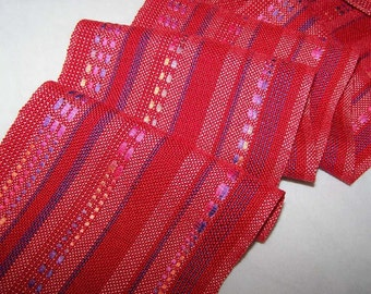 Handwoven Scarf, Tencel Scarf, Rayon Scarf, Woven Scarf, Hand Woven Scarf, Tencel, Rayon, Rayon Red with ribbon accent (#12-08)