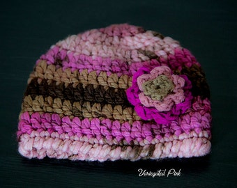 Variegated Pink Flower Hat