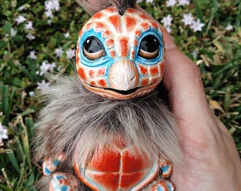 OOAK Squirtle Fantasy Creature  ( Peach ) Custom Squirrel and Turtle inspired Soft body Aty Doll