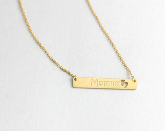 Mom Bar Necklace, Custom Bar Necklace, Mommy Necklace, Bar Necklace, Mother Gold Necklace, Personalized Necklace, Engraved Necklace, SN0345