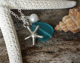 Handmade in Hawaii, Pacific blue blue sea glass necklace, Sea star charm, Natural pearl, 925 sterling silver chain, Free gift wrap