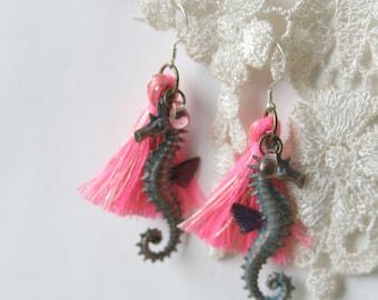 Sea Animal Earrings, Seahorse earrings, Mermaid earrings, Shell earrings, Starfish earrings, Beach jewelry, Summer jewelry