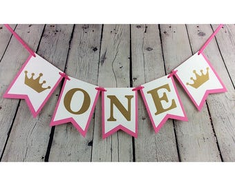 One Birthday Banner, First Birthday Banner, Crowns, Tiaras, Princess Banner, Princess Party, Custom Name Banner