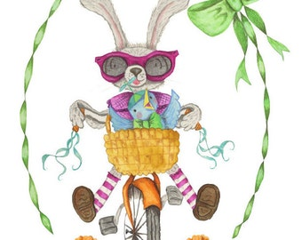 Bicycle Bunny Spring Easter Card