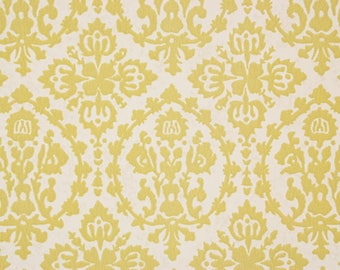 S Vintage Wallpaper Retro Yellow Flocked Damask On White By The Yard