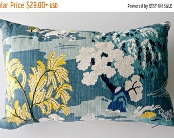 Mothers Day Sale Asian pillow cover, teal pillow cover, Asian pillow, chinoiserie pillow, toile pillows, Asian decor, peacock blue pillow