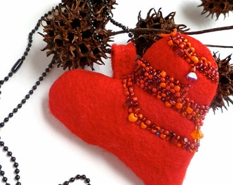Red heart necklace, wearable art, fiber art, bead embroidery, statement, boho style,  red felt pendant, love, Valentine I
