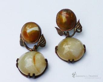 Agate and Leaf Earrings