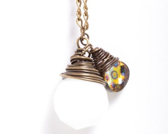 Large White Briolette with Peacock Swarovski Crystal Antiqued Bronze Necklace