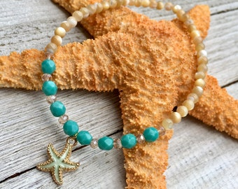 Starfish Beaded Anklet, Glass & Shell Beaded Anklet, Beaded Stretch Anklet, Starfish Ankle Bracelet, Beachy Anklet, Beachy Jewelry