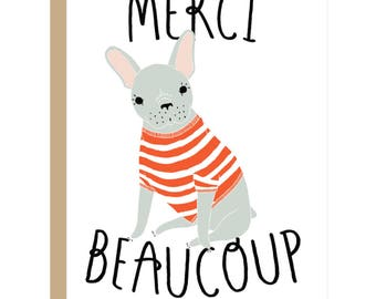 Merci Beaucoup Card, Thank You Card, Thanks Card, Thanks Dog Card, French Dog Card