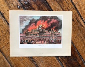 c. 1952 - FIRE CRYSTALat the PALACE PRINT - vintage lithograph - Currier & Ives print - New York City fire scene - and San Francisco view