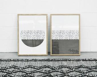 Minimalist Art Set, Modern Geometric Print, Digital Art, Black and White Print, Simple Modernism, Home Decor Wall Art, Scandinavian Modern