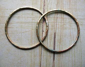Hammered Brass Hoop Findings with Aqua Shimmer - 1 pair - 38mm in diameter - 14 gauge