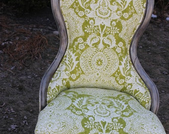 1890's Bedroom Chair newly Upholstered and Painted