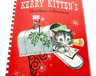 Vintage Children's Christmas Book Kerry Kitten's Pop-up Activity Coloring Book Plastic Toy Badge Original Box Set