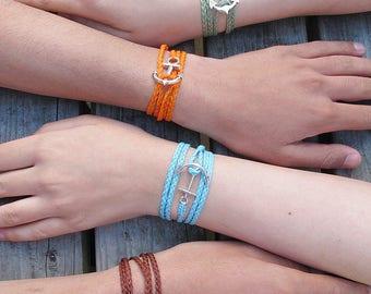 anchor wrap bracelet, nautical jewelry gift for boyfriend, husband, traveller, summer gap year, mens bracelet, gift for him, gift for her