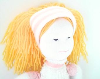 Handmade doll,Fabric doll, rag doll, cloth doll,  pink, white, blond, gift, girl, fashion doll, one of a kind, cute, yellow, denim