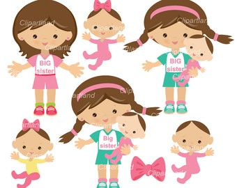 INSTANT DOWNLOAD. Big sister clip art. Girl clipart. Cbs_1. Personal and commercial use.