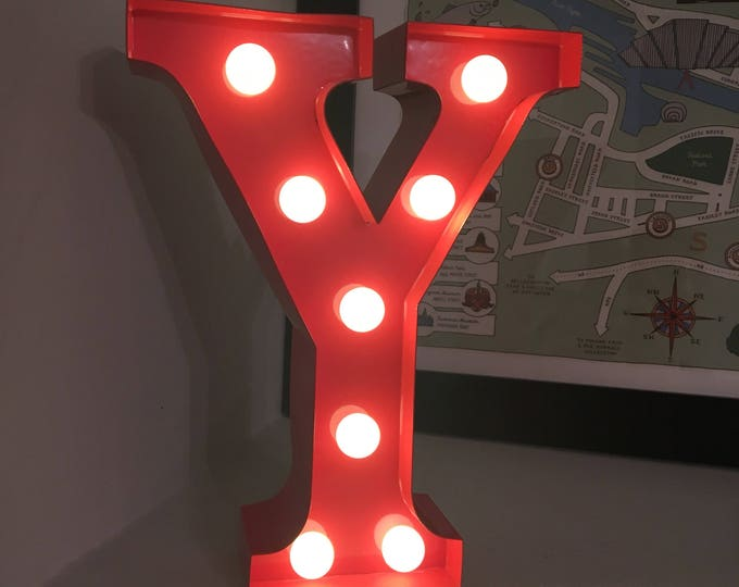 Vintage Carnival Style Marquee Light, Light up Letter Y - Battery Operated