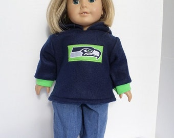 """American Girl-Boy 18"""" Doll Seattle Seahawks Hoodie and Jeans"""