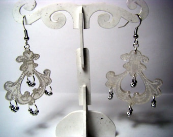 Baroque earrings with shrink plastic and silver seed beads