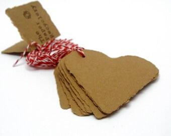 Brown heart tags, handmade kraft paper, recycled, deckle edge, set of 10