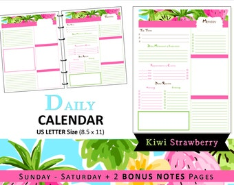 Lilly Inspired Daily Calendar Planner Refills & Bonus Notes - Printable - Tropical, Kiwi, Strawberry, Pink, Southern, Preppy US LETTER