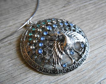 Necklace Silver Blue Green large Peacock pendant