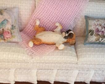 Boxer Figurine, Miniature Boxer Laying on Back, Dollhouse Miniature, 1:12 Scale Miniature Dog, Playful Boxer Figurine