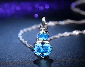 Blue Swarovski Element Lucky Gourd Crystal Pendant Necklace for Women