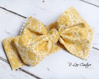 Dainty Mustard Headwrap - Bow Headwrap - Dainty Mustard Head Wrap - Baby Headwrap - Dainty Mustard Hair Bow