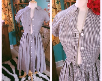 Vintage 1950s Dress gingham print black white XS S Rockabilly Pinup 50s 1960s