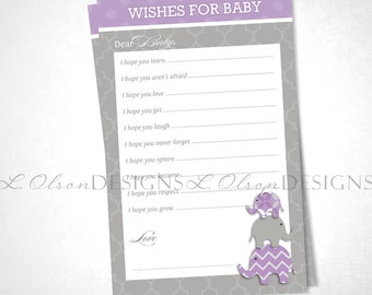 Elephant Wish Card - Purple - DIY Printable - INSTANT DOWNLOAD