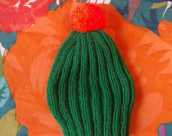 Hand knit wool cactus hat in youth size