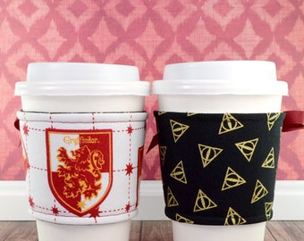 Harry Potter Cup Cozy // Gryffindor House Cup Cozy // reversible // adjustable // cold drink cozy // drink sleeves // reusable