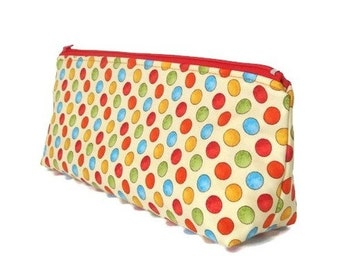 Large Makeup Bag Pencil Case Stationery Case Polka Dot Planner Pen Pouch Oblong Crochet Project Bag Flat Bottom Cosmetic Bag Traveller Gift