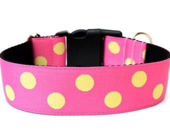 """Polka Dot Dog Collar 1.5"""" Large Dog Collar"""